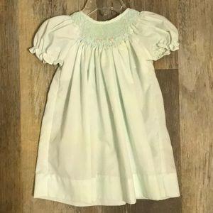 Petit ami mint smocked dress